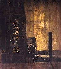 Queens Dock #3  60x52  1994 conte crayon, watercolor on paper