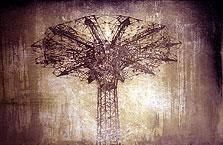 Parachute Drop #2  30x48  1994 conte crayon, watercolor on paper