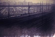 Queens Railyard #1  50x69  1995 conte crayon, watercolor on paper