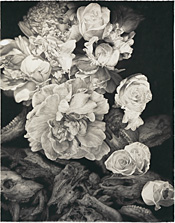 White Flowers and Bones, conté crayon on rag paper, 76.75 x 60 inches