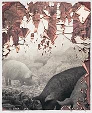 Bibiena #1 (Scavengers),  conté crayon on rag paper, 72.5 x 59.5 inches