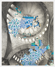 Blue Mosque, conte crayon, watercolor, gold leaf and layered rag paper on birch panel, 80x65
