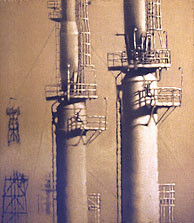 Richmond Towers #5 40x33 1999 conte crayon, watercolor on paper